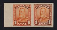 Canada Sc #149 (1928) 1c orange George V Scroll Issue IMPERF PAIR Mint VF NH
