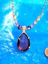 vintage Swarovski Crystal Drop Faux Amethyst Crystal Necklace W original tag
