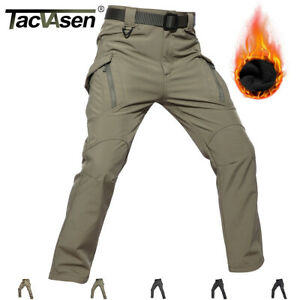 Windproof Men's Tactical Cargo Fleece Pants Workout Winter Combat Pants Trousers
