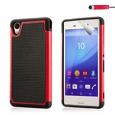 Dual Layer Shockproof Case Cover Sony Xperia Phones + Screen Protector & Stylus