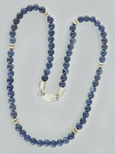 Blaue Sodalith Perlenkette - Collier aus Sodalith Kugeln Kette Silber Halskette