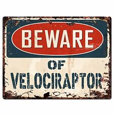 PP1504 Beware of VELOCIRAPTOR Plate Rustic Chic Sign Home Room Store Decor Gift