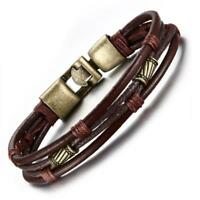 Mens Vintage Braided Leather Wrist Band Brown Rope Cuff Bracelet Bangle 8.5 inch