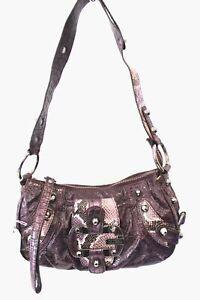 Ladies GUESS Retro Purple Reptile Print Handbag Shoulder Bag Preloved  - L38