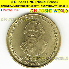 RABINDRANATH TAGORE 150 BIRTH ANNIVERSARY 1861-2011 Mumbai Mint Rs 5 UNC#1 Coin