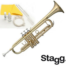 NEW Stagg WS-TR115 Key of Bb Brass Student Trumpet with Mouthpiece and ABS Case
