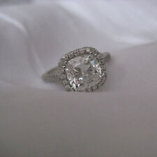 2.20 Ct Real Diamond Engagement Rings Fine 14 Kt White Gold Round Cut Size P
