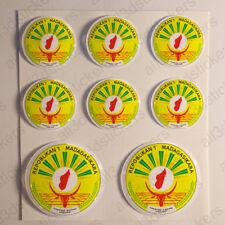 3 stickers plaque immatriculation auto DOMING 3D RESINE DRAPEAU MADAGASCAR 83