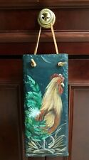 Red Rooster In The Hay - Handpainted Tile Wall Decor With Suede String