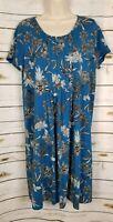 J Jill Wearever Dress Blue Floral Print Jersey Midi Medium