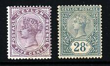 CEYLON Queen Victoria 1886 5c. Purple & 28c. Slate SG 195 & SG 199 MINT