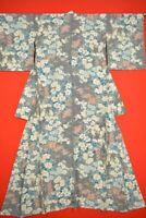 Vintage Japanese Silk Antique BORO KIMONO Kusakizome KOMON Dyed Textile/XK98/630