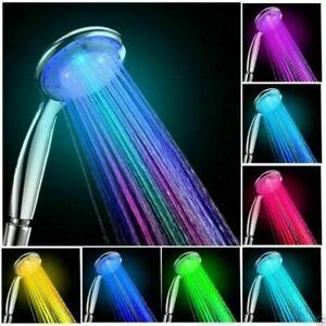 DHL LED Duschkopf Handbrause 7 Farbe Licht mit 2,0m Schlauch,Wasserspar
