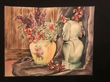 Vintage 40's Still Life Original Watercolor NY Art School Student work Unsigned