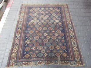 Rare Antique Caucasian Area Rug Carpet wool Hand Made 170x136-cm / 66.9x53.5-inc