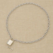 Square Design Lock Lockable Necklace Stainless Steel Chain Collar Charms Gift