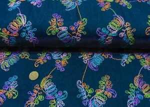Jeans Stickerei Flowers Denim blau, multicolor bestickt Meterware 25 cm
