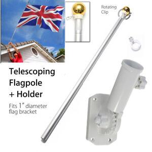 5ft Aluminum Telescopic Flag Pole Wall Mounted Flagpole Bracket Kit Set UK
