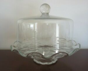 Princess House Crystal Pedestal Cake Plate with Dome Cover - Heritage Pattern