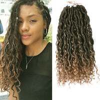 """US 14"""" Ombre Goddess Locs Crochet Curly Wavy Faux Locs Braiding Hair Extensions"""