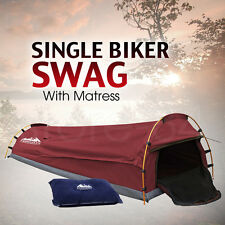 Single Biker SWAG Camping Canvas Dome Tent with Mattress & Air Pillow - RED