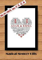 Personalised couple heart print gift valentines day, wedding , anniversary A4
