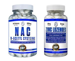 N-ACETYL-L-CYSTEINE NAC 600 mg 100 Capsules +Chewable Zinc Lozenges 25mg 100 Tab