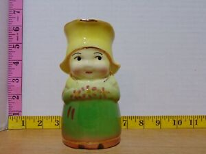 Little Dutch Girl Creamer Pitcher Porcelain Green And Yellow Gold Trim