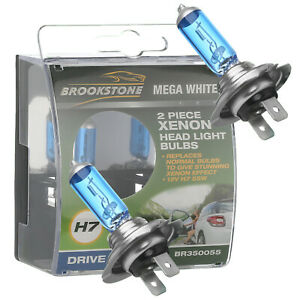 Brookstone 2 Pack 55W Blue Xenon H7 Headlight Lamp Bulbs 50% More Night Light