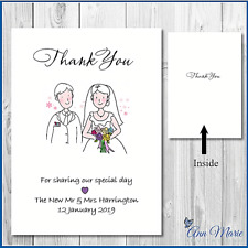 10 x PERSONALISED WEDDING THANK YOU FOR GIFTS CARDS A6 FOLDED WITH ENVELOPES