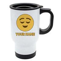 Personalised Face Emoji White Travel Mug - Happy 4 - Raised Eyebrows - Add Your