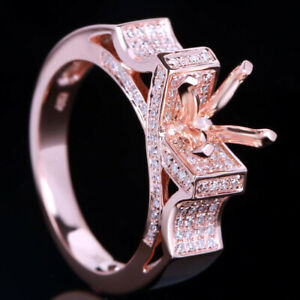 SOLID 10K ROSE GOLD NATURAL DIAMOND SEMI MOUNT ENGAGEMENT MASSIVE RING ROUND 6MM