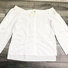 Lucky Brand Womens Top Embroidered Star Print Off The Shoulder Metallic Medium