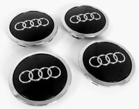 4 x 68mm Audi Schwarz Nabenkappen Felgendeckel Allufelge Satz 8D0601170 69mm