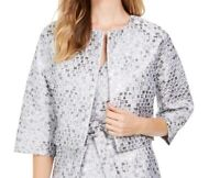 Natori Womens Jacket Silver Size Medium M Open Front Bolero Shrug $99 001