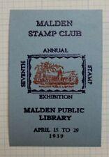 Malden Pa Stamp Club 1939 Exhibition Show Public Library Philatelic Souvenir Ad