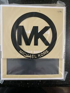 MICHAEL KORS MK Ribbed SOCKS TALL Fleece Knit RAIN BOOT Black S/M L/XL Gift Box
