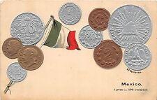 Foreign Numismatics Coin Collecting POSTCARD c1910 MEXICO Centavos Flag 2
