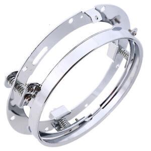 "7"" Silver LED Headlight Round Mounting Bracket Ring For Jeep Wrangler JK Harley"