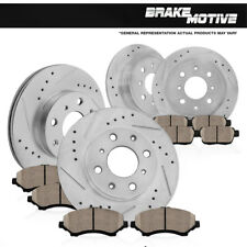FRONT+REAR DRILLED SLOTTED BRAKE ROTORS & CERAMIC PADS Acura Integra Honda Civic