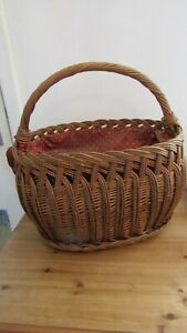 Vintage Shopping Basket with Cotton Cover