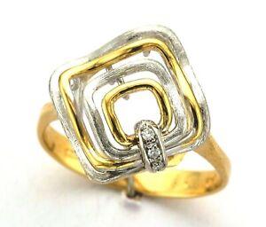 Ladies 18ct Yellow & White Gold Diamond Claw Open Tier Kite Shape Geometric Ring