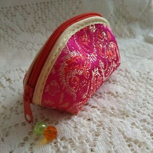 Oriental Small Satin Coin Purse Beaded Zipped with Beads 11cms Cerise Pink