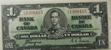 CANADA $1 DOLLAR 1937 GEORGE VI SHARP 120# Currency Bank Money Banknote