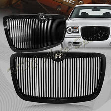 For 2005-2010 Chrysler 300 300C Black Vertical Front Hood Bumper Grille + Emblem