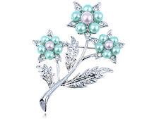 3 Stem Flower Pin Brooch Jewel Alloy Crystal Elements Green Lavender Faux Pearl