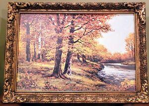 """Vintage Robert Wood """"Autumn Glory"""" Print - Signed/framed Elegant Victorian frame"""