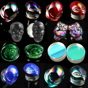 ear gauges ear plugs handmade glass Transparent reflective double saddle
