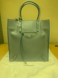 Balenciaga Side Zip A5 Paiper Tote Gris Grey Cyan Veau Gomme Double Face