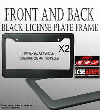 JDM x2 Plain Black DIY Custom Logo License Plate Snapon Frame Auto Car Truck J10